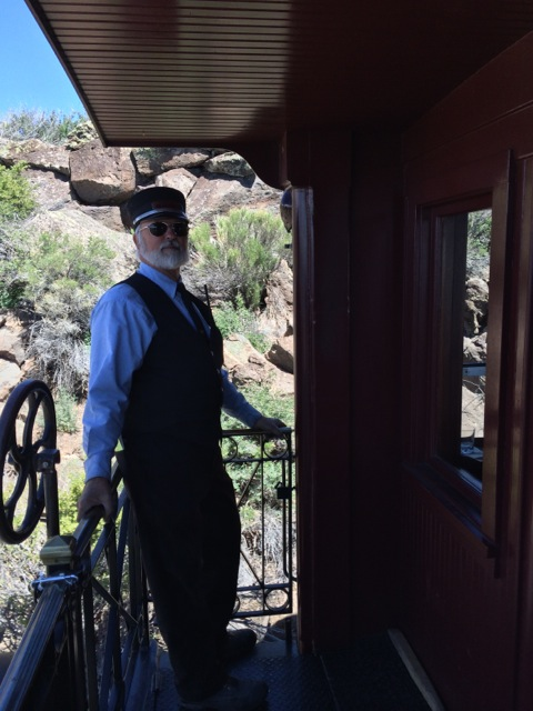 Brakeman at the rear of the parlor car