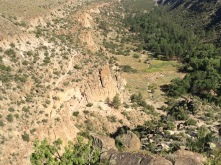 Ruins on the valley floor. Trail on left I would hike in the morning.
