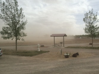 Blowing dust during 40+ mph winds