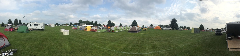 My house (left) among just some of the hundreds of tents