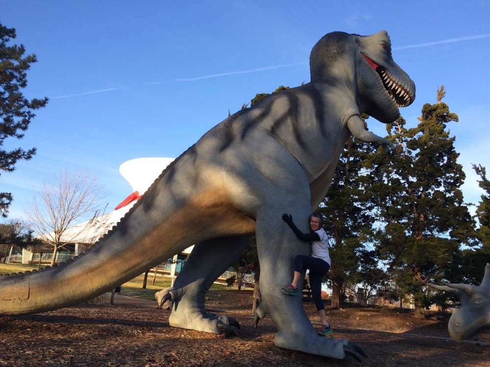 Dinosaurs in forest park. Oh my!