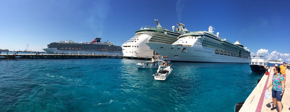 Some of the eight or so cruise ships in Cozumel that day