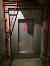 Doorway to single tram car