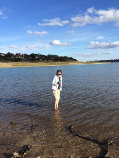 Kathy in the cold lake