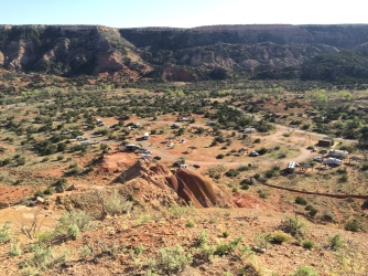 Bird's eye view of Mesquite camp area