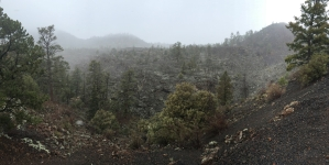Lava flow area outside of crater, which is to the right.