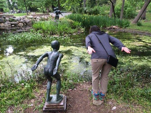Kathy striking a pose at umlauf sculpture garden