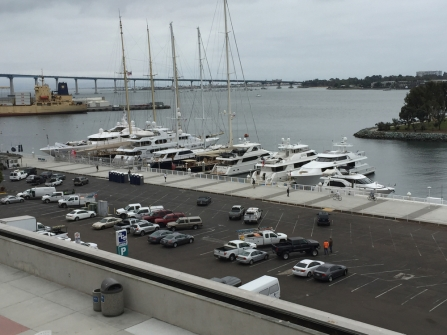 Mega yachts viewed from the convention center