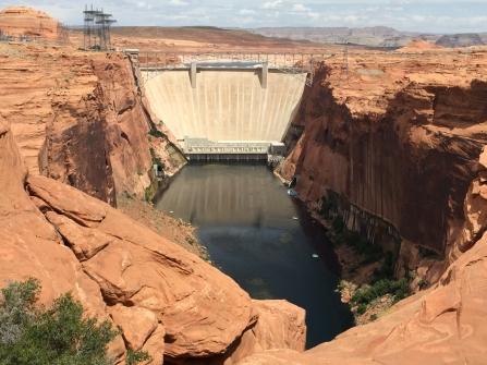 Dam and bridge from downstream