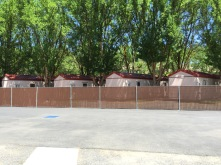 Migrant housing viewed from laundry facility