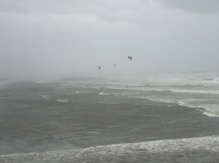 Kitesurfers taking advantage of the high winds