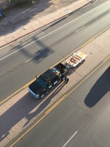 Aerial shot of Mister Bup chase vehicle