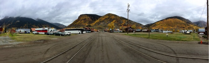 "Street in Silverton where the trains ""park""."