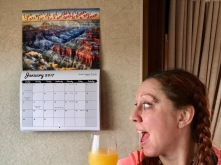 Mandy, mimosa and her calendar.
