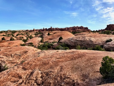 View up the slick rock towards Tower Arch