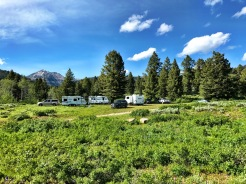 Trailhead parking just to the right of our RVs