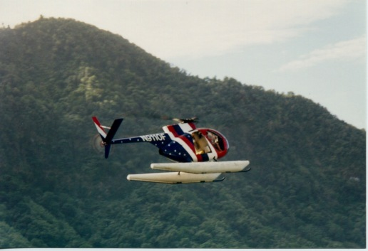 A helicopter fomr another StarKist fleet boat making a flyby while in Pago Pago Harbor (American Samoa)