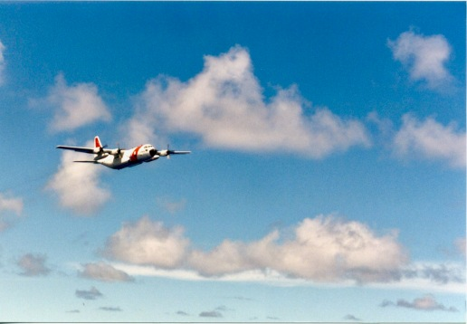 US Coast Guard C-130 making a low flyby to make sure only US registered vessels were fishing in US waters