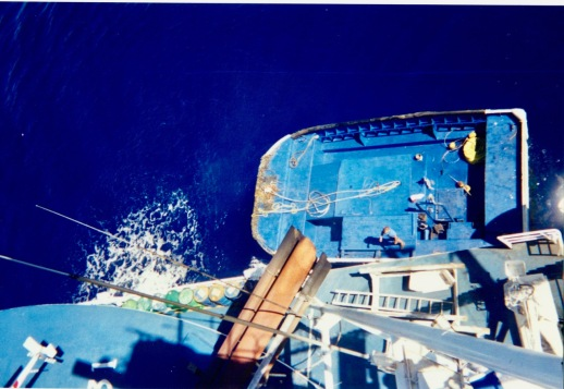 The skiff alongside the Auro (normally it's stored in the aft with the net) as viewed from the crow's nest
