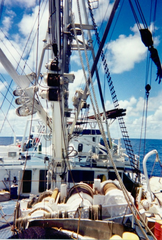 Looking forward from the Auro's net (very aft of the ship)