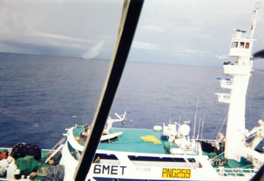 Korean purse seiner shot from the Auro's helicopter