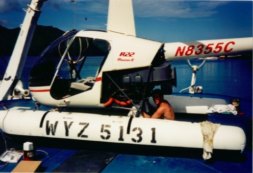 "Jean ""JC"" helping out with helicopter maintenance before we departed Samoa"