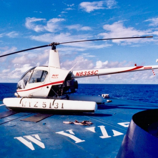 The Auro's R22 Mariner waiting on the top deck for the captain to call for launch