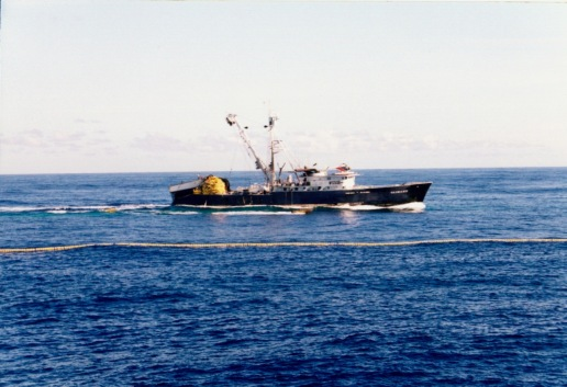 The Taimane (another StarKist ship) cruising by the Auro's net