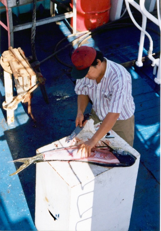 Willy (cook) fileting a Mahi Mahi