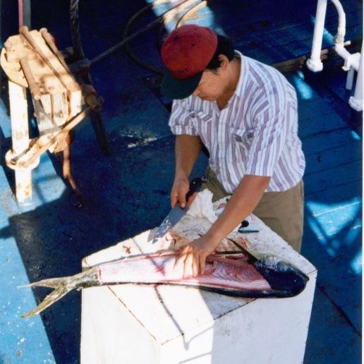 Willy (cook) fileting a Mahi Mahi