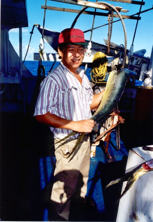 Willy (cook) with a Mahi Mahi