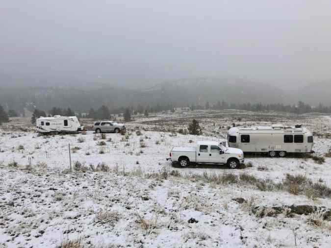 snow covered trailers